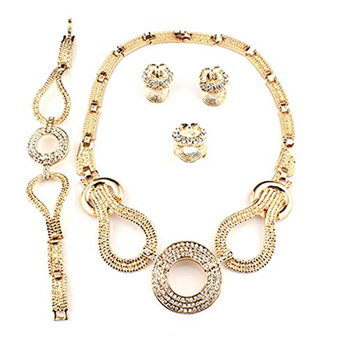 Jewelry Sets Bridal Wedding Jewelry for Women Gold-Color Necklace Earrings Bracelet Ring Sets