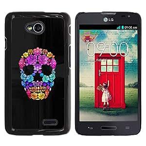 MobileHut / LG Optimus L70 / LS620 / D325 / MS323 / Flowers Spring Deep Meaning Skull / Delgado Negro Plástico caso cubierta Shell Armor Funda Case Cover