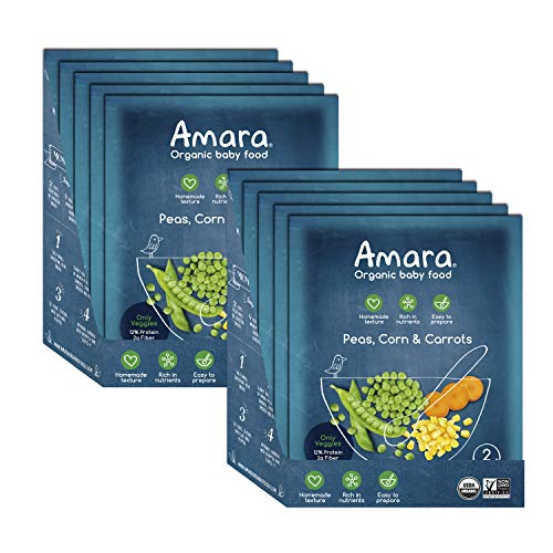 Amara Baby Food, Peas, Corn & Carrots, 100% Veggies Baby & Infant Food, Organic Fruits and Veggies for Baby and Toddler Meals - Stage 2 (10 pouches)