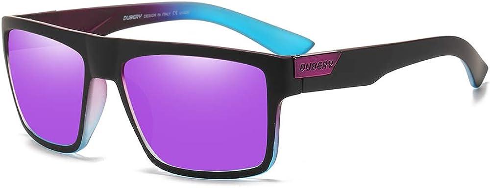 DUBERY Mens Sport Polarized Sunglasses Outdoor Riding Square Windproof Eyewear D918