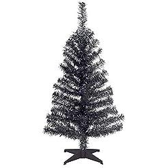 National Tree 2 Foot Black Tinsel Tree w...