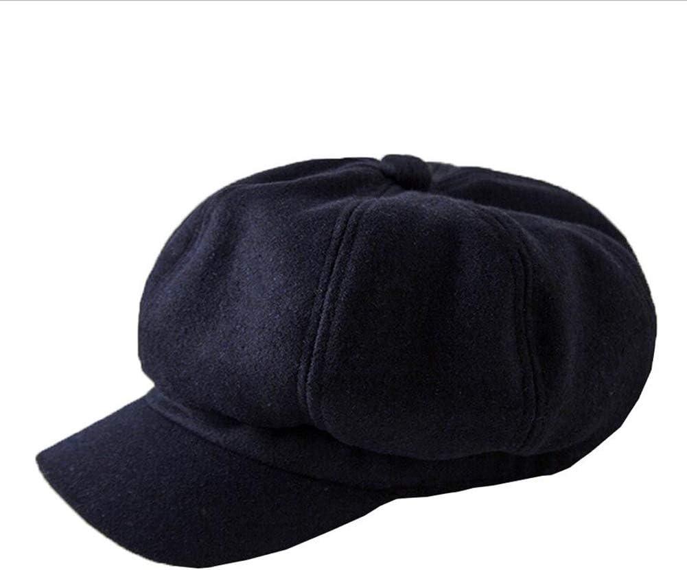 ZHML Sombrero Moda Simple Sombrero Octogonal Mezcla De Lana Gruesa Sombrero Cálido Otoño E Invierno Tendencia Fresca (Color : Azul, Tamaño : Metro)