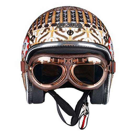 Retro Jet Motorcycle Scooter Helmet Silver Chrome Helmet Racing Protective Mask Indian with Goggles - Goggle Mount Quick Strap