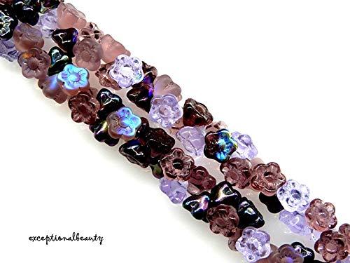 100 Assorted Lilac Mix Czech Glass 7x6mm Cone Flower Button Drop Beads Czech Pressed Glass Drop