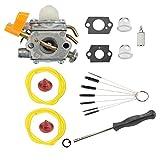 Podoy 25cc Carburetor for Ryobi C1U-H60 Homelite String Trimmer 308054013 Fuel Line Primer Bulb Adjustment Tool Clean Brush 26cc UT20024 UT20026 UT20044A UT20044B UT20046