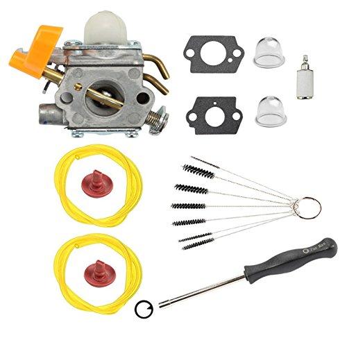Podoy 25cc Carburetor for Ryobi C1U-H60 Homelite String Trimmer 308054013 Fuel Line Primer Bulb Adjustment Tool Clean Brush 26cc UT20024 UT20026 UT20044A UT20044B UT20046 by Podoy