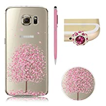 SKYXD For Samsung Galaxy S6 Edge Plus Clear Case,Transparent Floral Flowers Series Slim Gel Skin Silicone Protective Soft TPU Case Cover for For Samsung Galaxy S6 Edge Plus + 1x Cute Dust Plug +1x Stylus Touch Pen -Design & 8