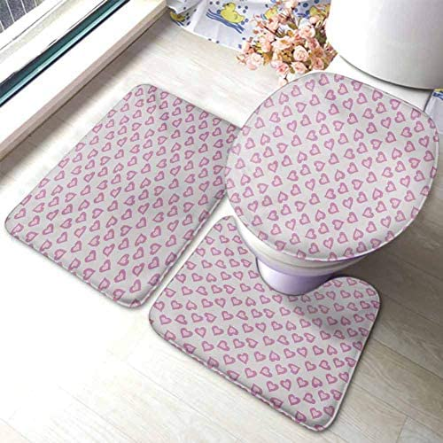 Teen 3 Piece Rug Set First Love Valentines First Date Inspired Vivid Young Hearts Inner Details Print U-Shaped Toilet Mat Toilet Lid Cover Lavander Purple / Teen 3 Piece Rug Set First Love Valentines First Date Inspired Vivid Young...