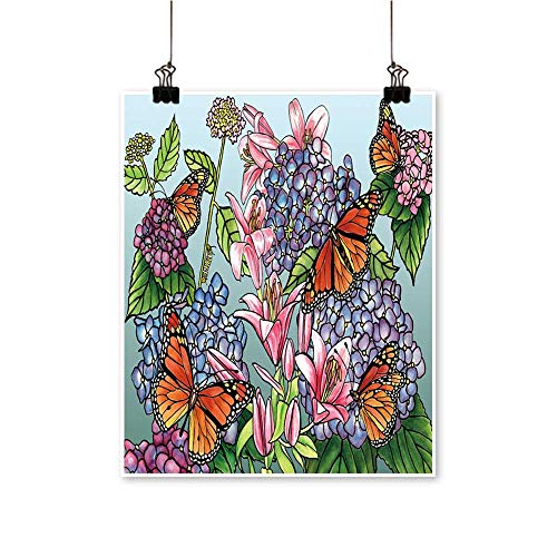 Wall Decor Monarch Butterflies Hydr geas Day Lilies Wall Art for Bedroom Home,28