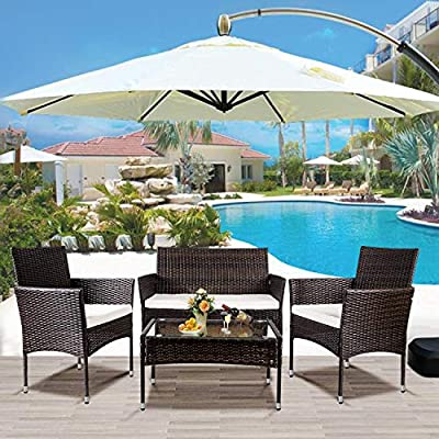 Merax Garden Backyard 4 PC Rattan Chair Patio Furniture Set, Outdoor with Weather Resistant Cushions Wicker Sofa, Brown - 【Beautiful and Strong】 Made of a powerful powder-coated steel frame and commercial-grade hand-woven weather-resistant PE rattan wicker, it has a brown hue and gives your terrace a new look. 【Upgraded Comfort】 Comestible lofty sponge padded seat cushions for more comfort and relaxation. 【Tempered Glass】 Table with removable tempered glass adds a sophisticated touch and allows you to places drinks, meals, or any other decorative items on top. - patio-furniture, patio, conversation-sets - 51QPr4sl92L. SS400  -