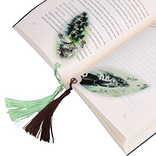 GTHER 2PCS Leaf Bookmarks Handmade Natural Leaf Vein Bookmark Fancy Bookmark Chinese Bookmark for School Office Study Art Decoration Creative Gift Business Gift Unique Gift, Town (Town Decoration)