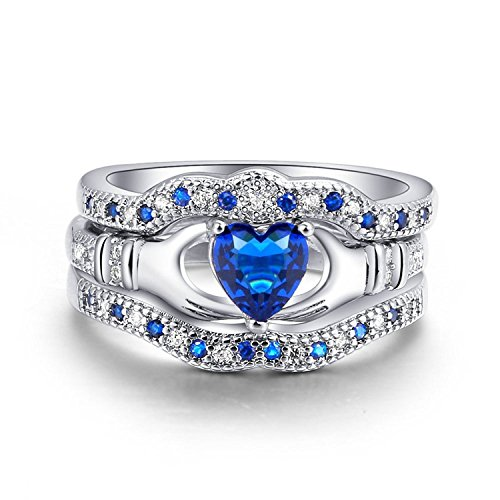 Women 3PCS Wedding Ring Sets Irish Claddagh Ring Heart Blue Sapphire Zircon Fashion Jewelry (7)