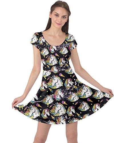CowCow Womens Stars Black Unicorn Ice Cream Cap Sleeve Dress - S