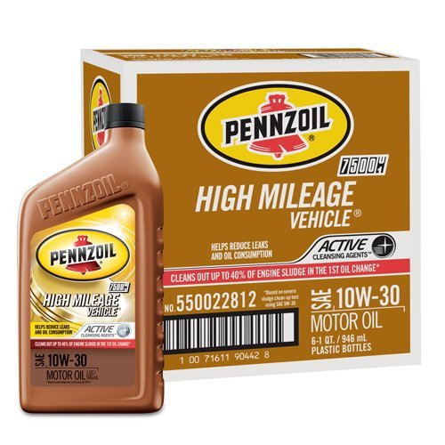 Pennzoil High Mileage Motor Oil 10W-30 – 1 Quart (Pack of 6) Sae 10w30 Motor Oil