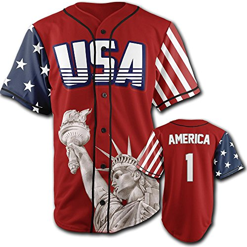 American Flag Baseball Jersey (Greater Half USA Red America #1 Large)