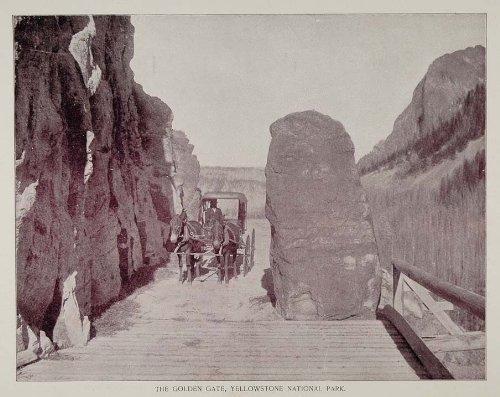 1893 Print Yellowstone Park Golden Gate Canyon Entrance - Original Halftone Print