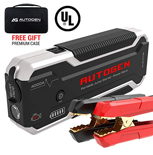AUTOGEN Car Jump Starter PRO 4000A Peak (10.0L+ Gas & Diesel), 12V Portable Jumper Pack for Cars, SUVs, Trucks. Huge Power Bank with Quick Charge 3.0