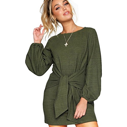 Casual Front Tie Long Sleeve Bandage Party Dress Green-XL ()