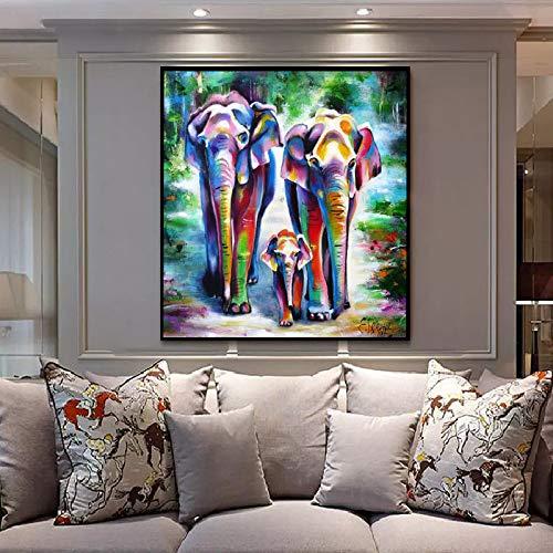 Cuadro En Lienzo Los Animales De Gran Tamano, Tres Elefantes Abstracto Sobre Lienzo Imagenes Impresas Con Arte De Pared Oleo Cartel De Salon Hogar Moderno Pintura Decorativa,28X28 Pulgadas (70Cmx7