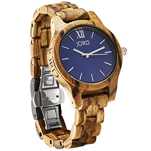 JORD Wooden Wrist Watches for Women - Frankie 35mm Series / Wood Watch Band / Wood Bezel / Analog Quartz Movement - Includes Wood Watch Box (Zebrawood & Navy)