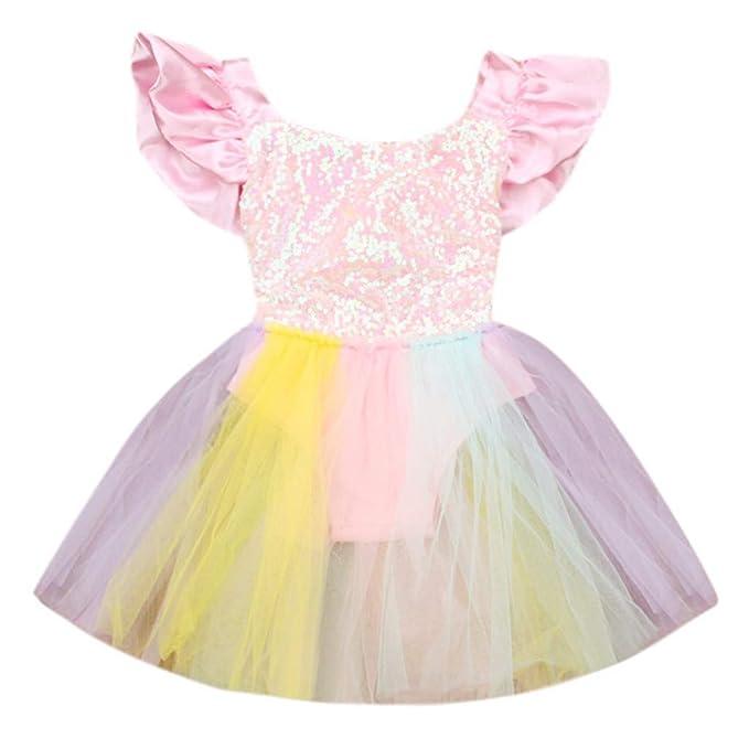 39bd61a62 YWLINK Toddler Kid Baby Girl Sin Mangas Rainbow Lentejuelas Encaje Princesa  Vestido De La Falda: