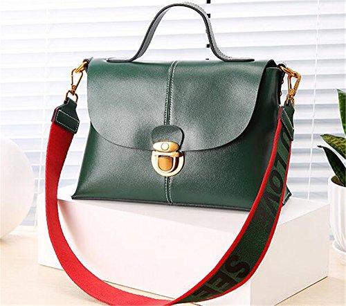 Sommer Farbe Leder Handtasche Breite Schultergurt einfach Wild weiche Schulter diagonal Schulter Tasche für Damen mit Deckel Beutel Grün Atpyr