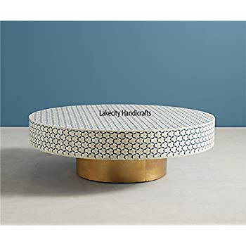 Blue Brass Bone Inlay Round Table