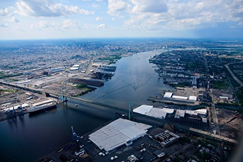 Posterazzi Aerial View of Walt Whitman Bridge Crossing Deleware River in Philadelphia PA Poster Print by Panoramic Images (36 x 24) ()