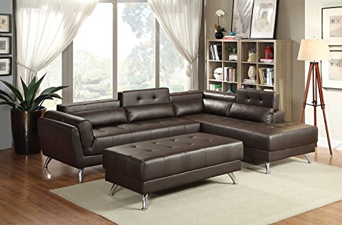 3Pcs Modern Espresso Bonded Leather Sectional Sofa Set with Extra Large Ottoman and Reveal Storage Compartments by Advanced Furniture