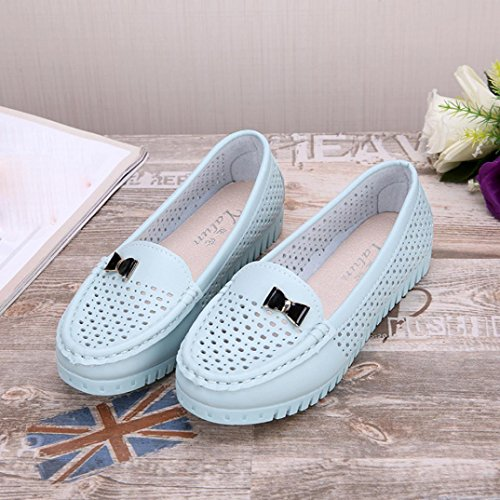 Transer Ladies Cut-Outs Leisure Flats Shoes, Women Slip-On Comfort Casual Work Loafers Lazy Shoes Blue