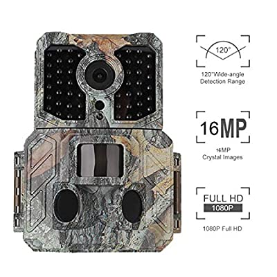 """Trail Camera with PIR Sensor 16MP 1080P 2.4"""" LCD Game & Hunting Camera with 48pcs IR LEDs Infrared Night Vision up to 65ft/20m IP56 Waterproof for Wildlife Animal Scouting Digital Surveillance"""