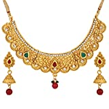 Efulgenz Indian Ethnic Bollywood Traditional Faux Ruby Emerald Rhinestone Bridal Designer Jewelry Choker Necklace and Earrings Jewelry Set for Women and Girls