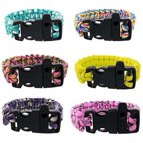 FROG SAC Paracord Bracelets with Emergency Whistle Buckles 6 PCs Pack - Survival Buckle Bracelet Set for Men Boys Women Girls - Camping, Hiking Accessories - Great Party Favors (Neon Camo)