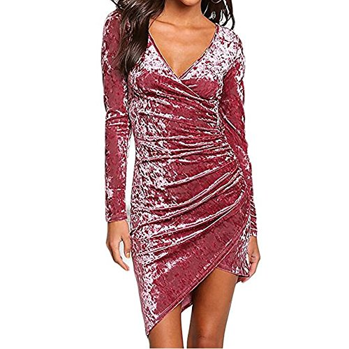 velluto Vino manica con donna hibote da in V scollo Abito Clubwear profondo rosso a lunga aderente c7CqxwxH86