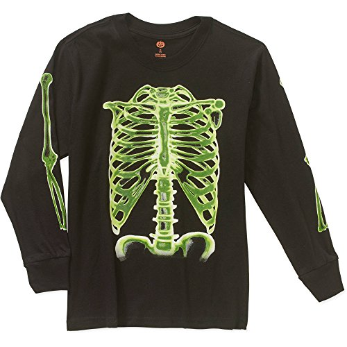 Skeleton Bones Glow in the Dark Little and Big Boys Halloween Long Sleeve T-Shirt (X-Large 14-16)