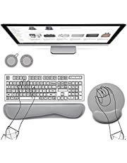 AtailorBird Wrist Rest Mouse Pad & Keyboard Wrist Support Set Free 2 Cork Coasters Surface Lycra Material Memory Foam Filling Rubber Non-Slip Base Ergonomic Fits Most Keyboards and laptops - Gray