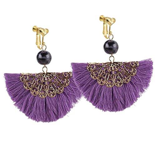 Big Clip Earrings - Bohemian Purple Fringe Clip on Earrings Heart Clips Long Silk Thread Tassel Prom Exaggerated Earring