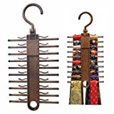 Tie Rack Hanger 2 Pack Non-Slip Tie Scarf Rack Holder Hook Belt Hanger With 360 Degree Rotating,Securely up to 20 Tie,Best Multi-Use Space-Saving Plastic Organizer For Storage Closet