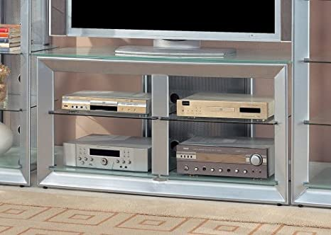 Amazon Com Tv Stand With Glass Shelves In Silver Coaster Kitchen