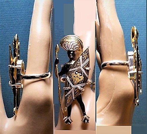 1 Vintage Damascene Zimbabwe Warrior Ring 925 Size 9 Black Enamel Etched, Gold Guilded, Large Black Man Spear & Shield w/Devil Handmade