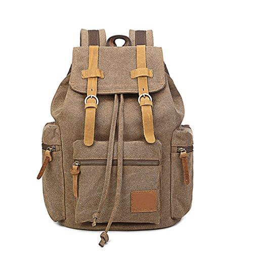Vintage Canvas Laptop Backpack School College Rucksack Bag (Coffee) - 2