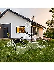 HANGSHUN Spinnenweb voor Halloween, super stretch, met 8 kunstspinnen en driehoeken, megaspinnenweb voor de beste Halloween-decoratie