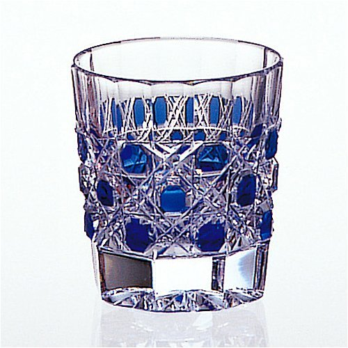 Kagami Crystal Edo Kiriko traditional craftsman Kimura Akio kaiseki Cup blue T653-2085-CCB by Kagami Crystal
