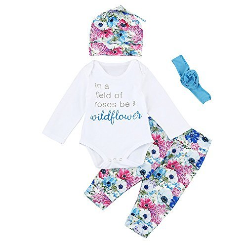 Infant Baby Newborn Boys Girls Letter Tops Shirt Pants Headband 4Pcs Suit Outfits Clothes White
