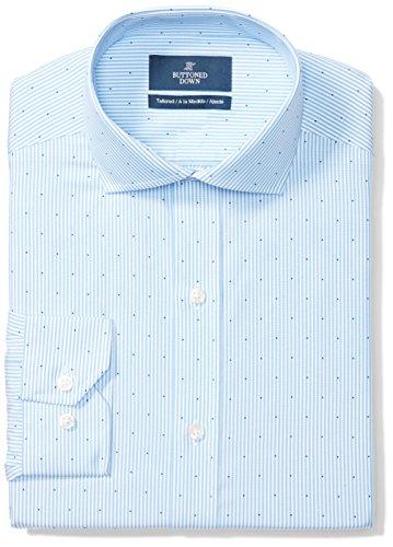 BUTTONED DOWN Men's Tailored Fit Cutaway-Collar Pattern Non-Iron Dress Shirt, Light Blue Stripe Dot, 16.5