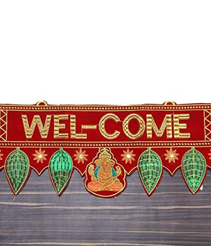 DEVIKA:Toran for Door! Door Toran,Your home's First Impression!Improve Vaastu!Welcome Positive Energy.Cotton Door Hanging Ethnic Topper Toran Indian Home Decor(Red & Green, 36 x 7.5 inches) T1
