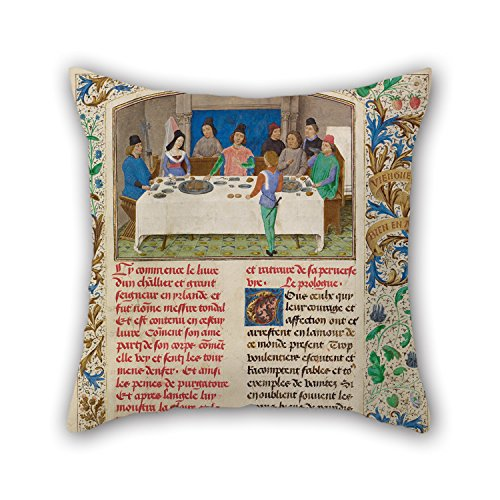 Alphadecor Oil Painting Simon Marmion (Flemish, Active 1450 - 1489) - Tondal Suffers A Seizure At Dinner Cushion Covers 20 X 20 Inches / 50 By 50 Cm For Dining Room,boy Friend,study Room,bar Seat,l - Memphis Lounger