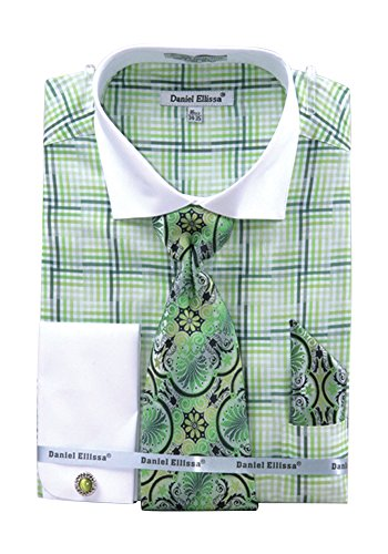 Men's Check Pattern Two Tone French Cuff Shirt Cufflinks - Green 18.5 34-35 (Mens Two Cuff French Tone Shirts)