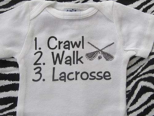 crawl walk lacrosse infant one piece future lacrosse player by teesbytini