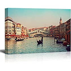 "Wall26 - Canvas Prints Wall Art - Rialto Bridge and Gondolas in Venice. | Modern Wall Decor/ Home Decoration Stretched Gallery Canvas Wrap Giclee Print. Ready to Hang - 24"" x 36"""